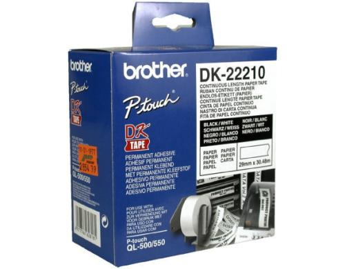 Brother P-touch DK-22210 Endlos-Etiketten Papier 29mm x 30.48m