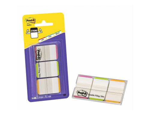3M Post-it Index Strong, 3x12 Tabs pink/orange/grün