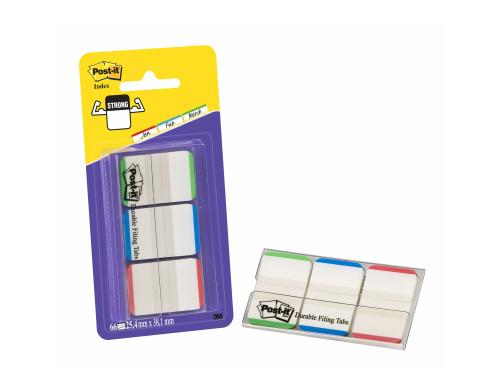 3M Post-it Index Strong, 3x12 Tabs grün/blau/rot