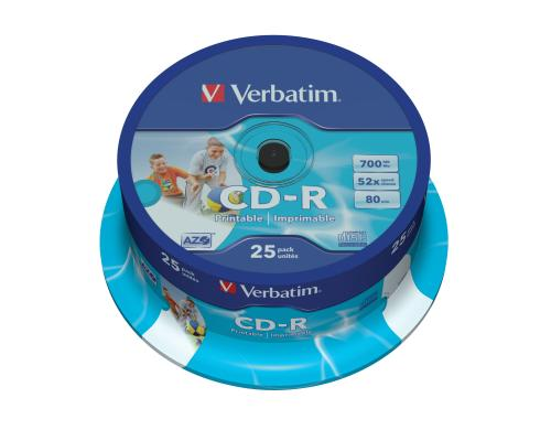 Verbatim CD-R 52x 80Min/700MB 25-Spindel Bis 52-fach, Photo printable / mit Logo