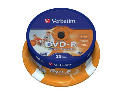 Verbatim DVD-R Medien 4.7GB,16x,25er Spind Wide Printable Surface