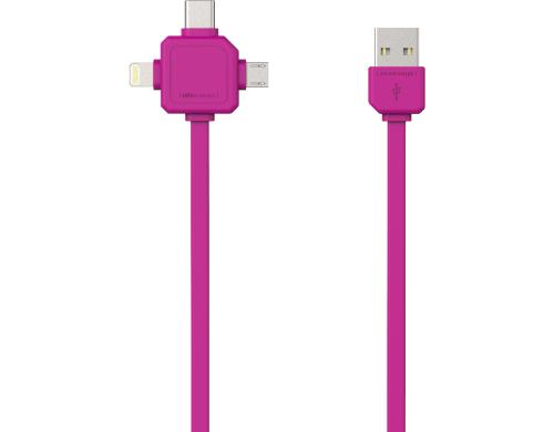 allocacoc USB Kabel mit 3 Steckern, pink 1.5m, Mircro USB, USB-C, Apple Lighting