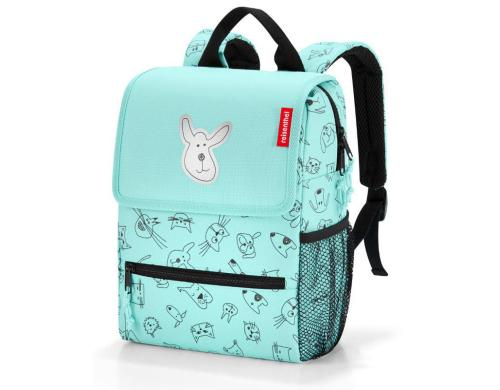 Reisenthel Kinderrucksack backpack kids 5l cats and dogs mint, 21 x 28 x 12 cm
