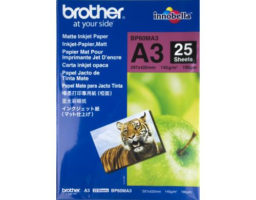 Brother Mattes Inkjetpapier A3, 25 Blatt BP-60MA3