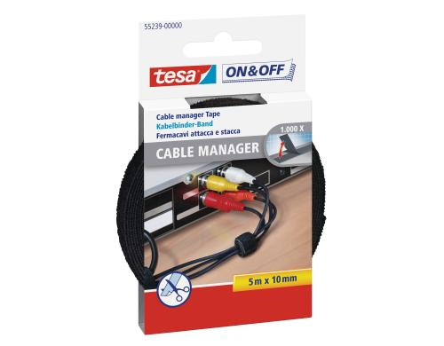 Tesa Velcro Cable Manager universal schwarz 10 mm x 5 m