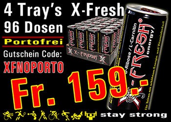 X-Fresh MAXIMUM ENERGY next level / 96 Stk. zu 250ml / Aktion / Portofrei mit Code XFNOPORTO